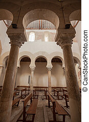 Vertical view of fine mozarabic arcade - vertical view of...