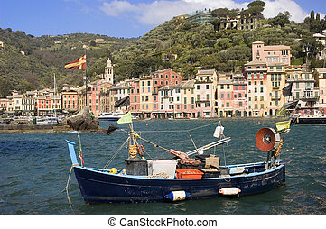Portofino Boat - Colorful fishing boat in the harbor of...