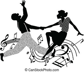 Retro dancing silhouette - Black and white silhouette vector...