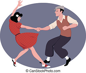 Lindy Hop dancing - Young couple dressed in late 1940s...
