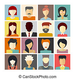 People Icons - Set of flat people icons. Different faces of...