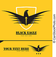 Stylized black eagle combine with text and shield at the...