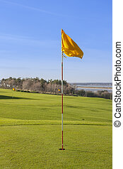 green in the golf course - golf flag in the 18th hole