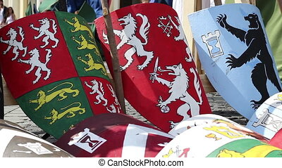 Heraldry Shields - Resting medieval wooden shields with...