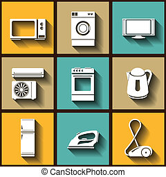 Set of 9 flat icons of domestic electric appliances Eps10