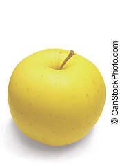 apple, yellow, white background - apple, yellow, fruit,...