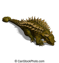 Dinosaur Talarurus 3D render with clipping path and shadow...