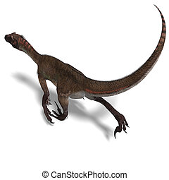Dinosaur Utahraptor 3D render with clipping path and shadow...