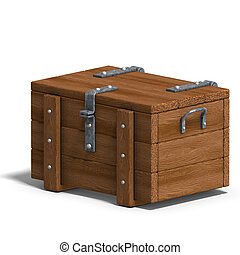 treasure chest 3D rendering with clipping path and shadow...
