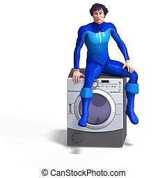 superhero on a dryer 3D rendering with clipping path and...