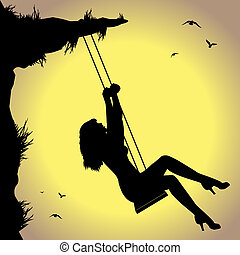 woman on swing - silhouette of woman on swing