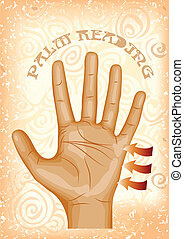 palm reading. human hand on abstract background