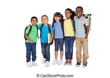 Cute schoolchildren smiling at camera on white background