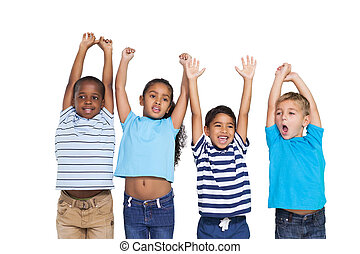 Cute children cheering at camera on white background