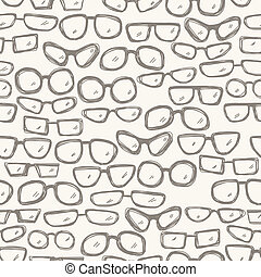 Seamless pattern with glasses - Seamless hand drawn pattern...