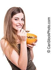 mulheres, comer, cereais