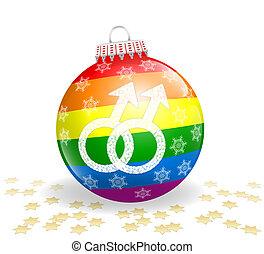 Gay Christmas Ball - Glossy christmas ball with gay love...