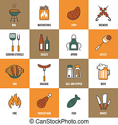 Bbq Line Icons - Bbq grill party utensil flat line icons set...