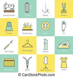 Sewing Equipment Icons - Sewing equipment and tailor...