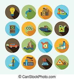 Pollution Icons Set - Automobile emission and oil refinery...