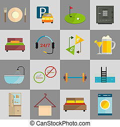 Hotel icons set - Hotel amenities and room service icons of...