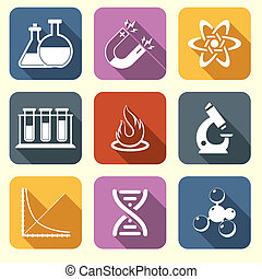 Physics science icons flat - Physics science laboratory...