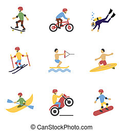 Extreme Sports Icons Set - Vacation travel extreme sports...