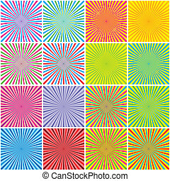 Backgrounds Set With Radial Rays