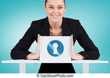 Composite image of businesswoman showing tablet pc -...