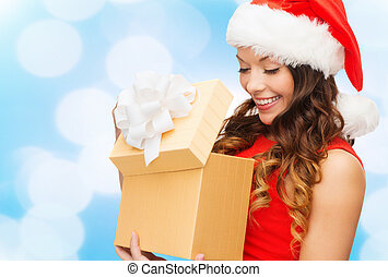 smiling woman in red dress with gift boxes - christmas,...