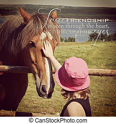 instagram of young girl petting horse with inspirational...