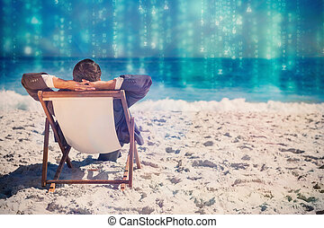 Composite image of young businessman relaxing on his sun...