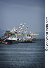 container port - two ships at the container port of...