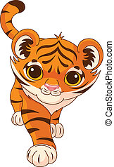 Baby tiger - Illustration of cute crouching tiger
