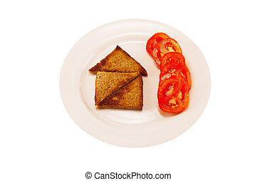 house of toast with hot peppers - house of toast on a white...