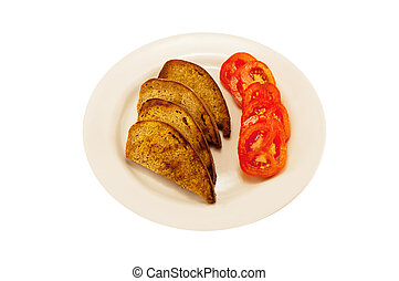 toast and tomato - white plate with toast and tomato