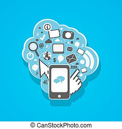 social media mobil phone icons illustration vector