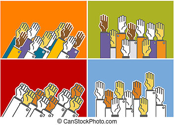 Voting group of people - symbolic human\'s hands