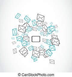 tablet message mailing concept vector