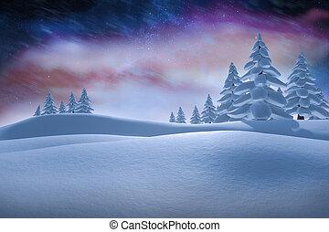 composito, immagine, bianco, nevoso, paesaggio, abete,...