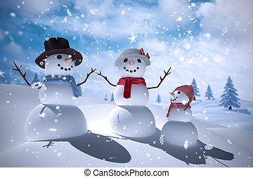Composite image of snowman family against blue sky with...