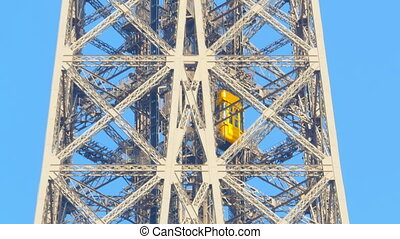 eiffel tower elevator follow shot