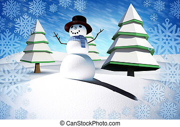 Composite image of snow man against blue sky