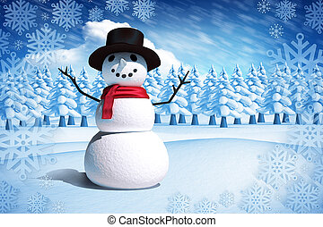 Composite image of snow man against bright blue sky with...