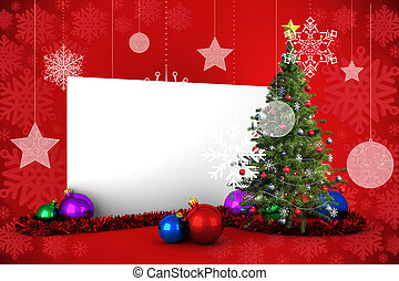 Poster with christmas tree - Composite image of poster with...