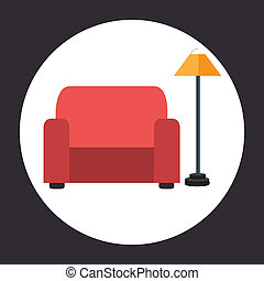 Furniture design over gray background, vector illustration