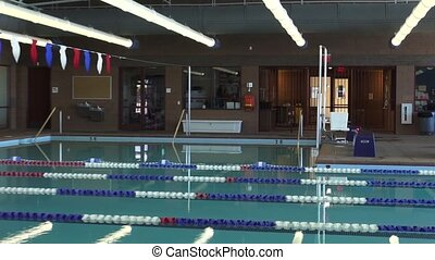 Indoor Lap Swimming Pool - Long panning shot of a huge...