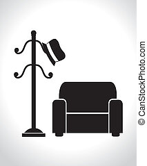 Furniture design over white house background, vector...