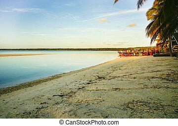 Tropical beach at sunrise.