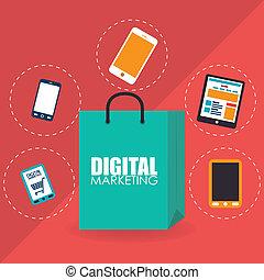 Marketing design over red background, vector illustration